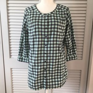 Duluth Trading Co Mint and Navy Blue Plaid Shirt